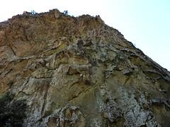Sortie du canyon du Carciara : la paroi S à la sortie du canyon