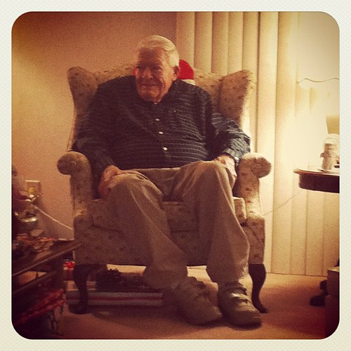 My grandpa in my grandmas special chair. I love him.