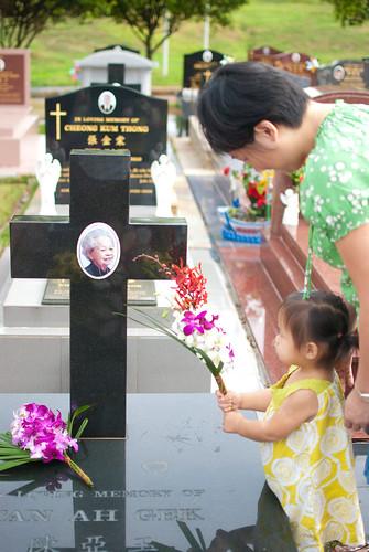 At Serene's Grandma's grave