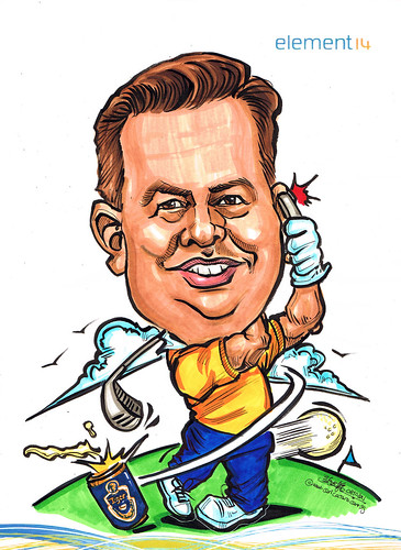 Golfer caricature for Element 14