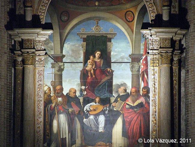 Madonna in trono con angelo musicante e santi © Lola Vázquez, 2011