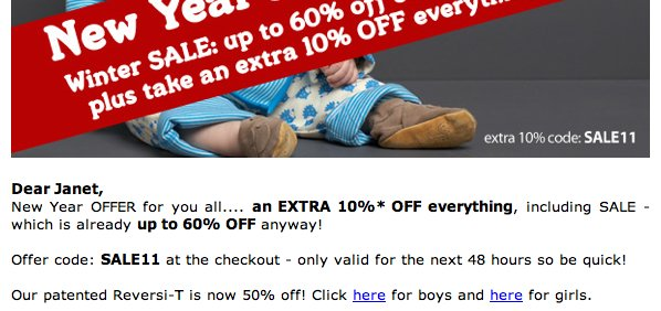 Screenshot of Green Baby marketing email showing 'click here for boys and here for girls'