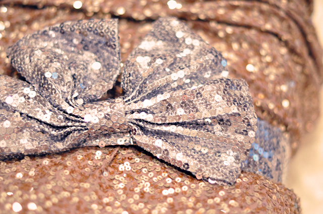 sequins- bow belt - gold and silver sequins