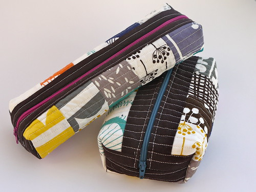 Two Patchwork Boxed Pouches