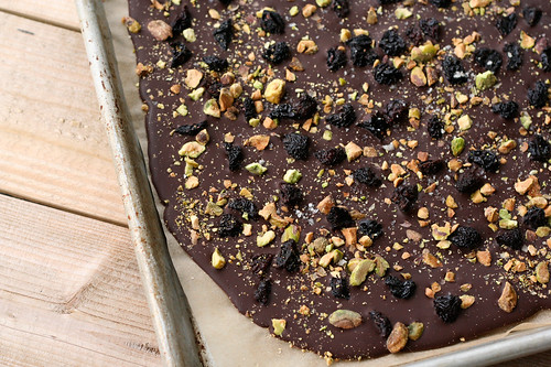 Dark Chocolate Bark with Pistachios, Dried Bing Cherries and Grey Sea Salt (gluten-free and vegan)