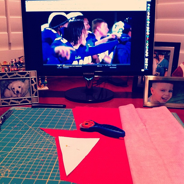 Watching Friday Night Lights and Crafting Some Valentine's Day Bunting/Pennants. This is life in suburbia.