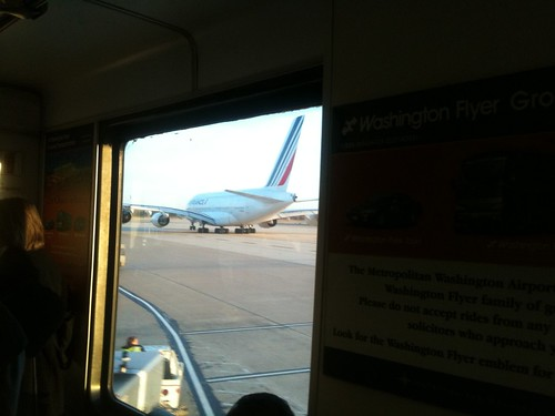 On Dulles mobile lounge behind A380