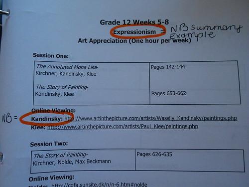 Art notebook pages - Artist assignment