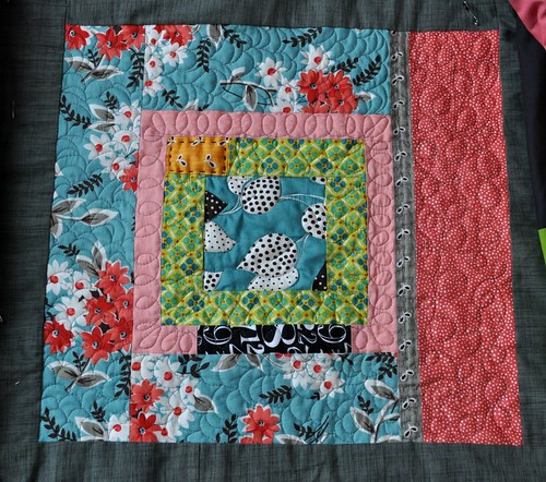 king size quilt, block 1 quilted