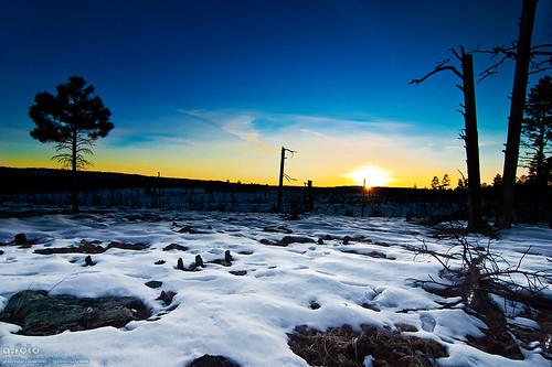 sunset arizona landscape fire valley snowscape showlow