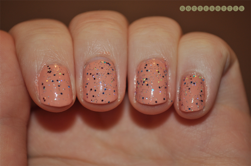models own peach puff rimmel disco ball nail polish notd glitter topcaot