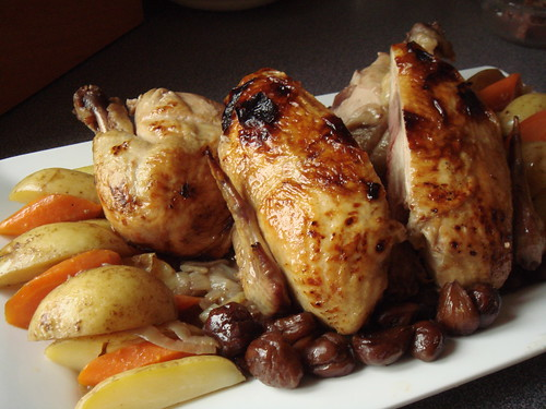 M. Jacques Cognac Chicken with Chestnuts: Carved