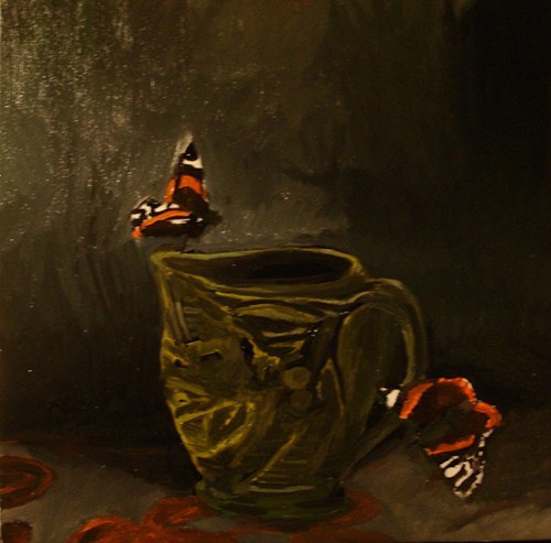 Red Admirals underpainting by Sage Austin