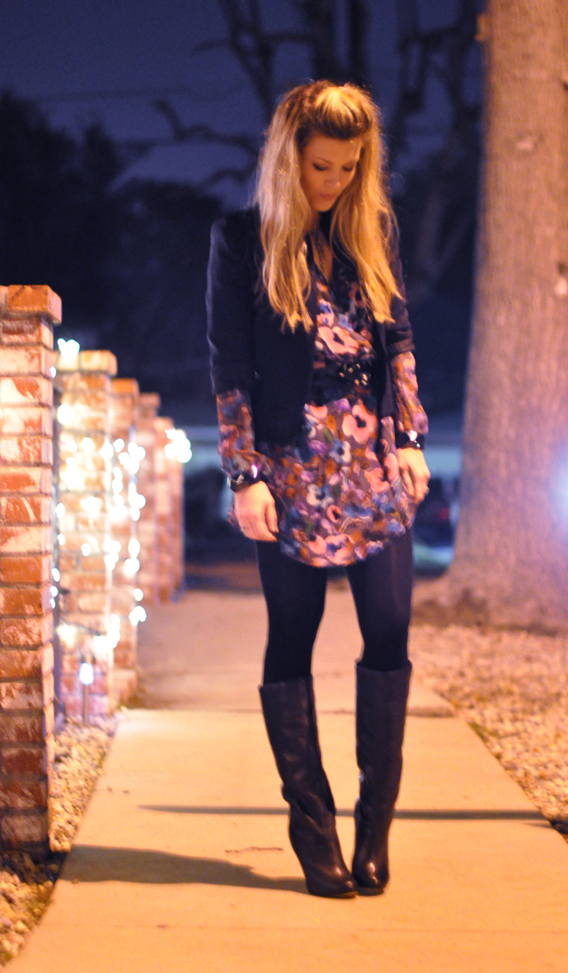 dress with flower print-lamade-black tights and boots