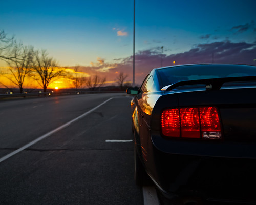 light sunset sun ford car automobile tail mustang gt