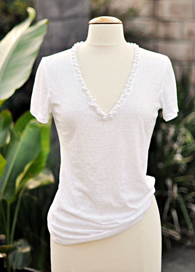 deep v pearl  encrusted neck  t  shirt diy