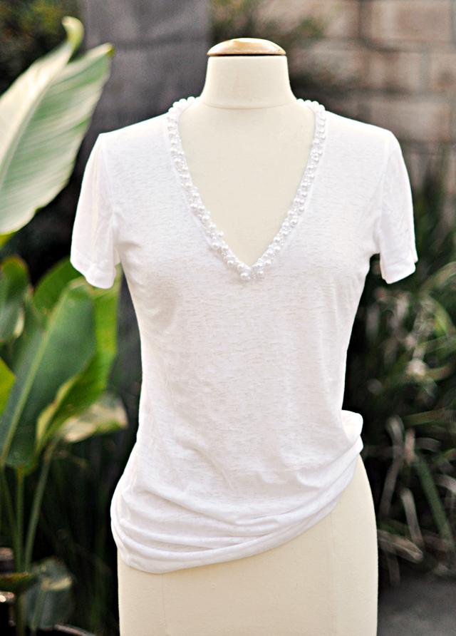 deep v pearl  encrusted neck  t  shirt diy
