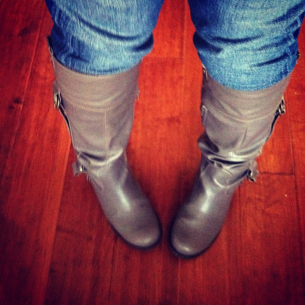 Tall boots and jeans. A first for me.
