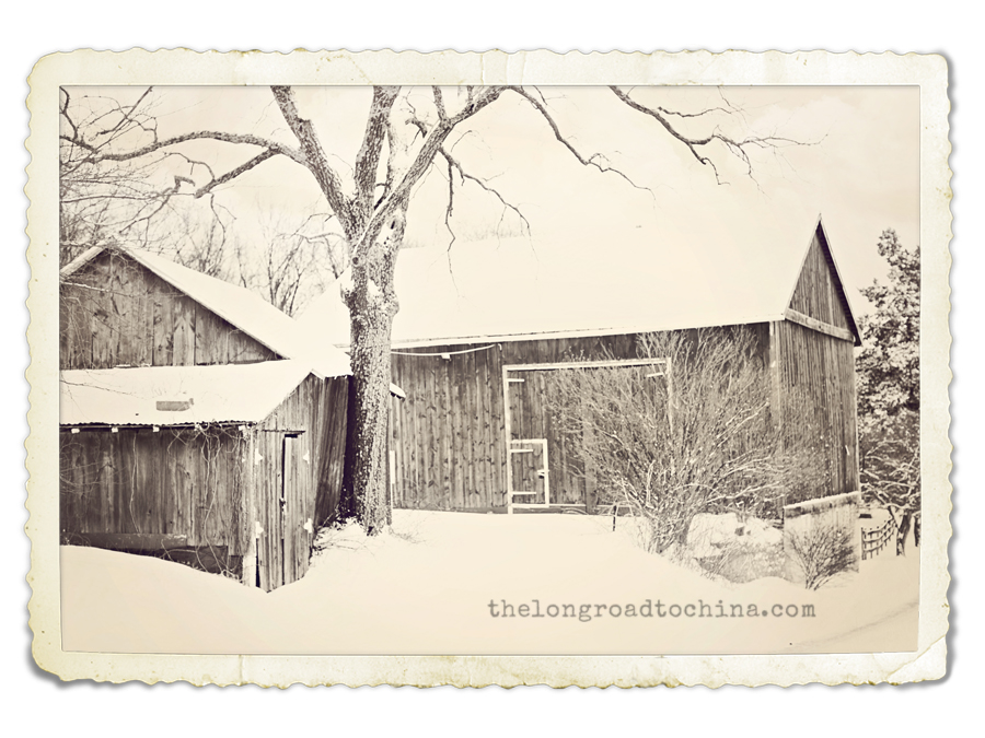 Old Barn Black and White Winter FRAME 9