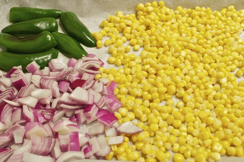 salsa/roasted corn, onions, peppers