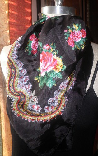 Vintage Scarf with Folkloric Floral Design Black Background by Brick City Vintage