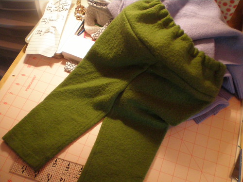 Green wool play pants