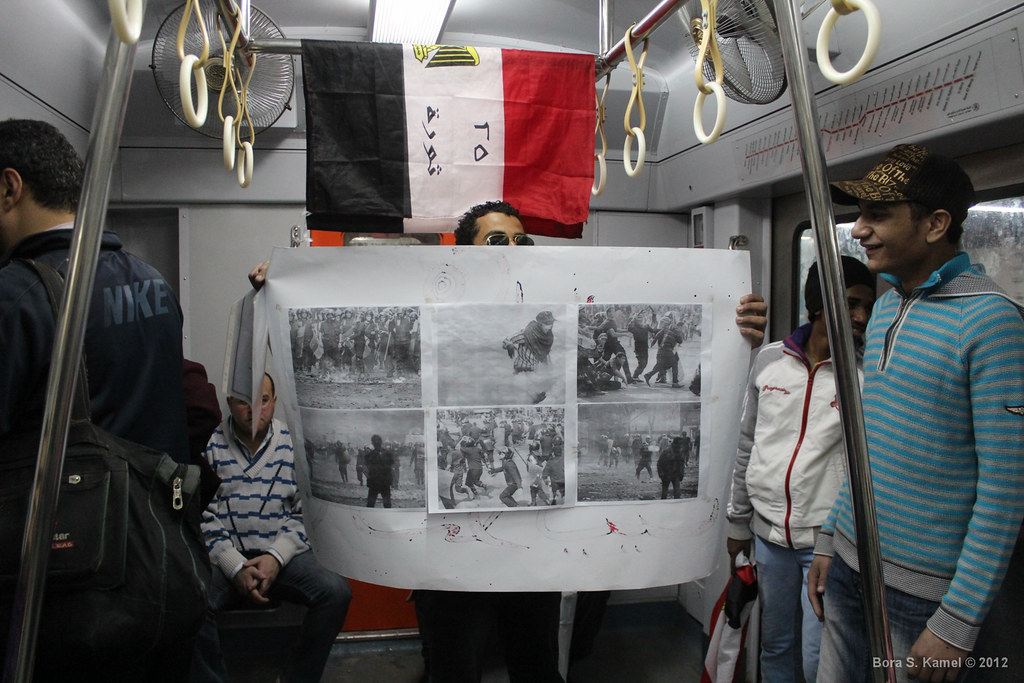 protester on the metro in cairo