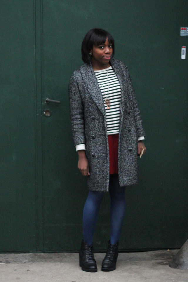 h&m coat a.p.c striped jumper vintage skirt