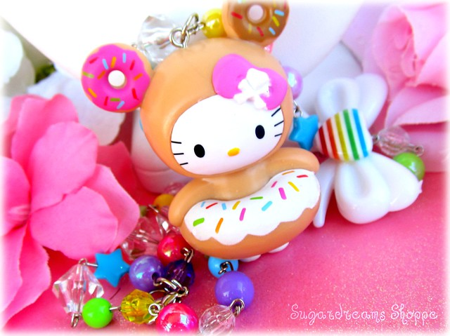 Tokidoki hello kitty donutella rainbow beaded candy heart necklace