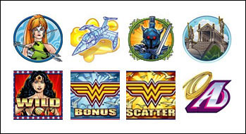 free Wonder Woman slot game symbols