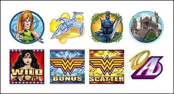 free Wonder Woman slot game symbols