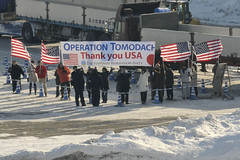 TOMAKOMAI, Japan (Feb. 3, 2012) Residents welcome U.S. 7th Fleet command ship USS Blue Ridge (LCC 19) as the ship arrives for a goodwill port visit that coincides with the nearby Annual Sapporo Snow and Ice Festival. (U.S. Navy photo by Mass Communication Specialist 3rd Class Mel Orr)