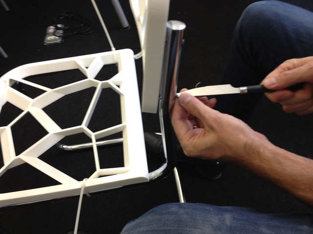 Assembling a 3D printed Chair with a butter knife