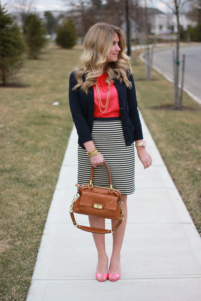 pink and navy stripes work outfit