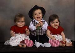 triplets in fancy valentines