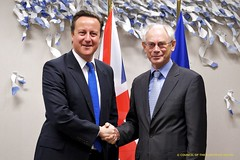David Cameron shakes hands with European Council President Herman Van Rompuy.  Was Cameron right to reject the fiscal union deal?  Image from the President of the European Council's photostream