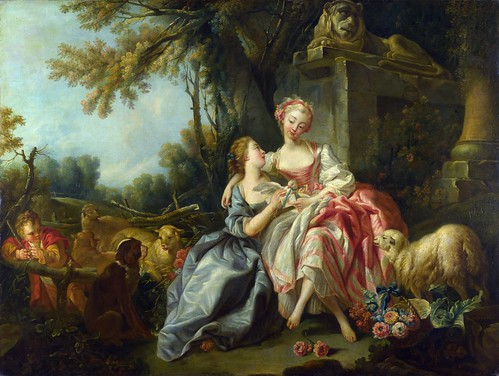 Studio of Francois Boucher - The Billet-Doux [1754] by Gandalf's Gallery