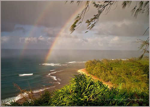 beach hawaii rainbow kauai ke tropical doublerainbow