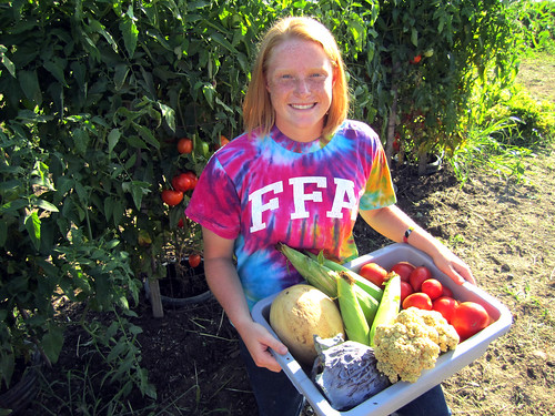 Mallory McDevitt of Wapakoneta, Ohio in her one-acre organic garden.