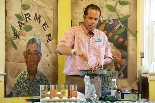 Jim Reddekopp prepares a vanilla-infused dish