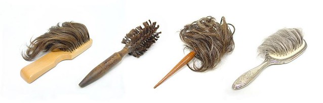 four brushes whose bristles appear to be made from human hair