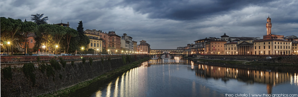 Ponte Vecchio at Dusk as seen from the Ponte alle Grazie, Florence