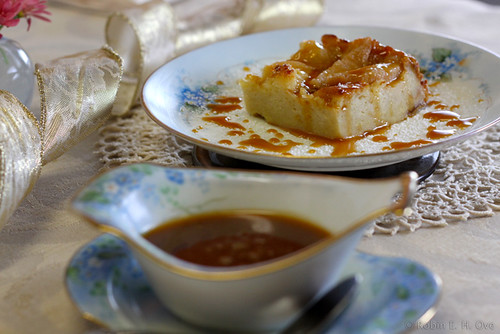 bread pudding with gingered pears and caramel sauce