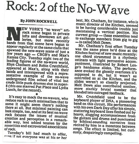 06-28-79 NYT Review - No Wave Festival
