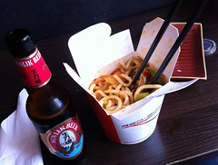 Noodles and beer at Red Box Noodle Bar, Edinburgh