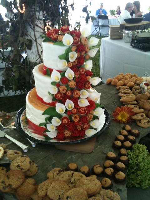 Persimmon Champagne Wedding Cake