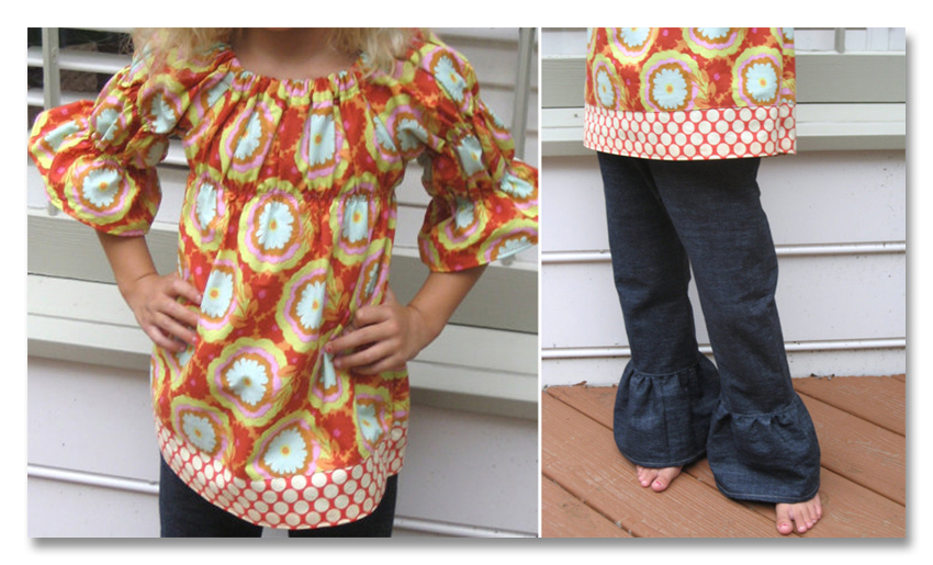 molly mac denim ruffle and peasnat top collage