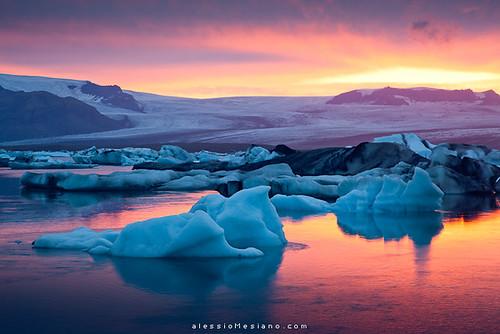 sunset lake ice iceland lagoon glacier iceberg scandinavia jökulsárlón