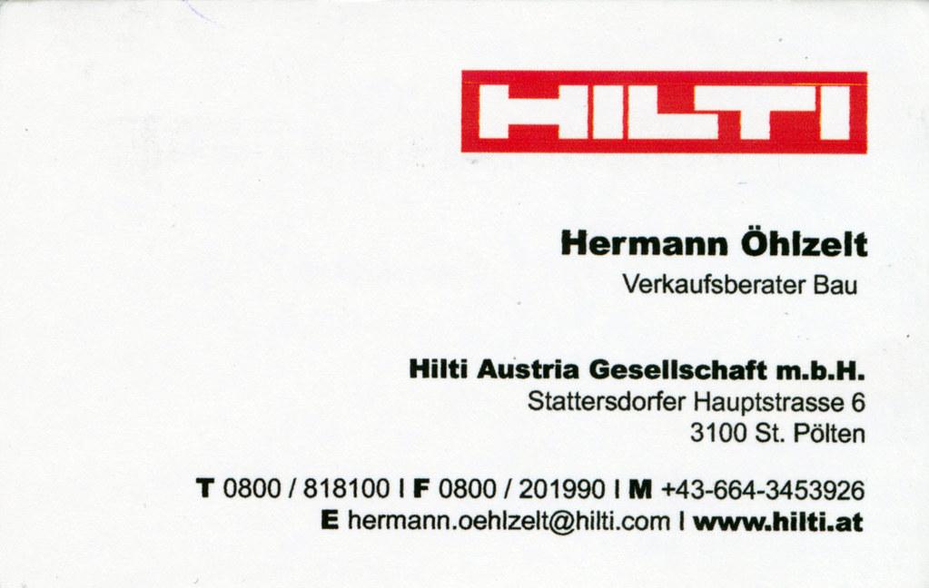 Visitenkarte Hilti Verkaufsberater Hermann öhlzelt Flickr