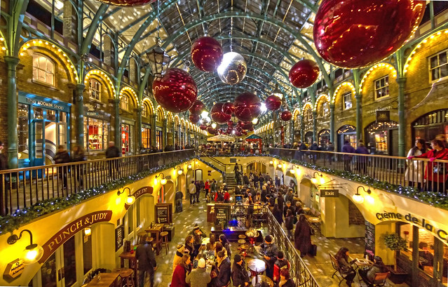 Covent Garden At Christmas With Lego Installation And Live Reindeer